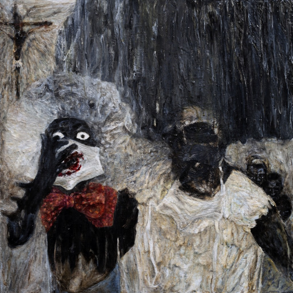 White Collar Goes Black Headdress by McQueen