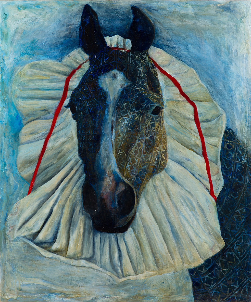 Logo Creature : Pony with Pleated Headdress, 2015 Oil on Linen 23 x 19 inches