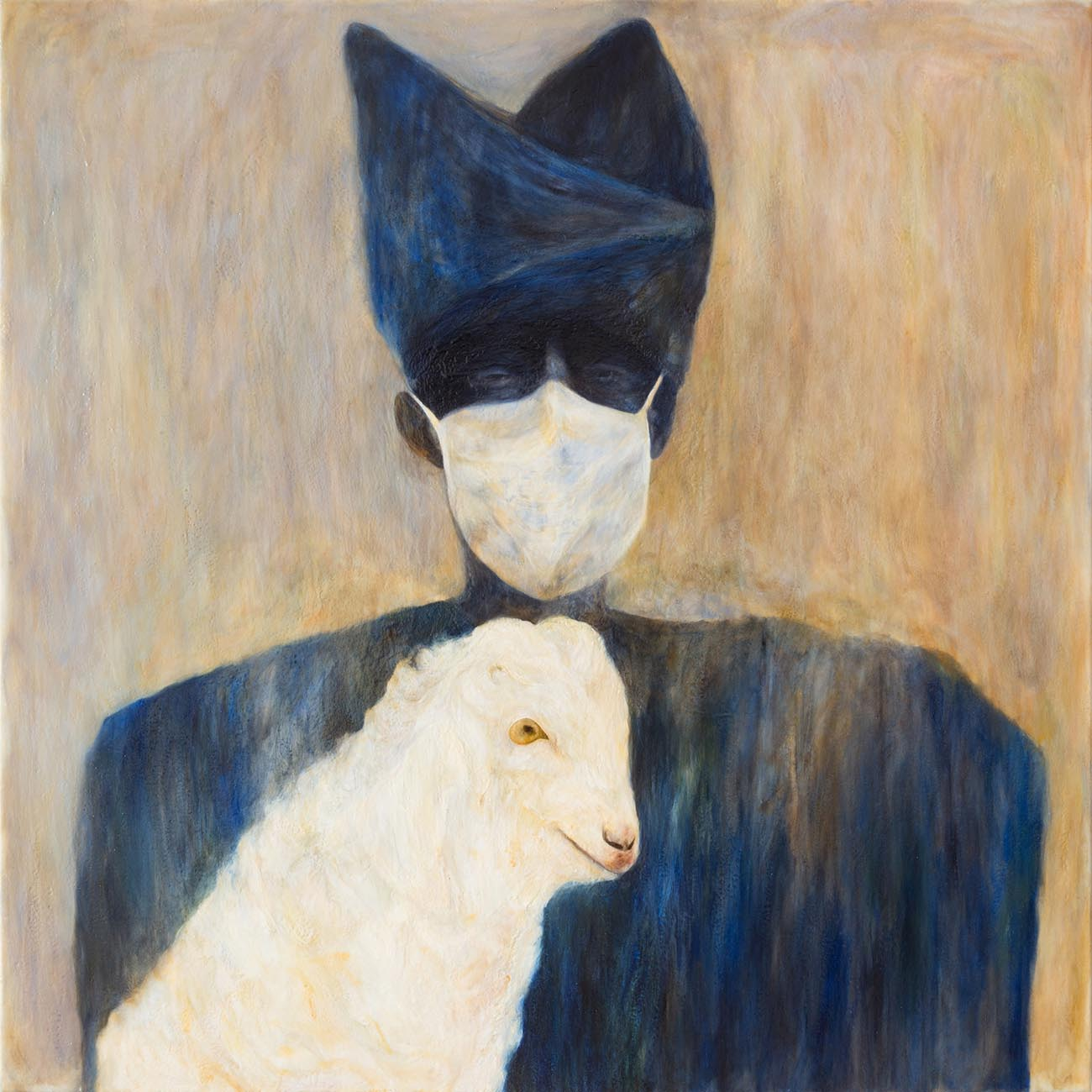 Woman with Goat and Surgical Mask
